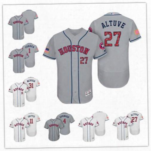 Personalize Cool Flex Base Houston Astros Custom Men Women Youth 2017 Independence Day Stars & Stripes Jersey 1 Carlos Correa 27 Jose Altuve