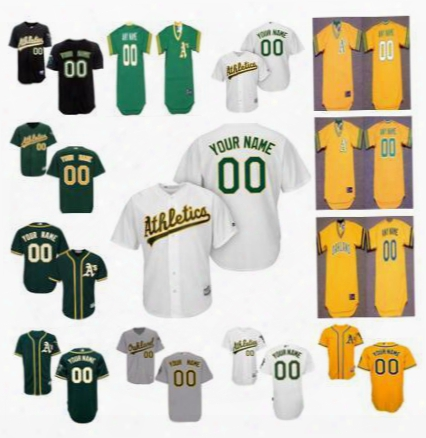 Personalized Cool Base Oakland Athletics Custom Mens Womens Youth Kid Cheap Baseball Jerseys Home White Gray Road Gold Green Pullover S,4xl