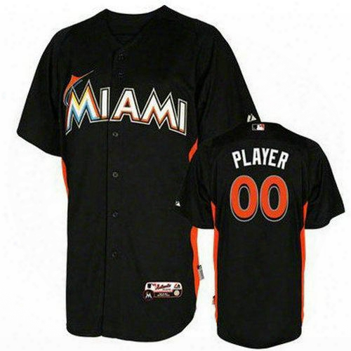 Personalized Custom Baseball Jerseys Florida Marlins Black Customized Your Name Number