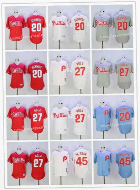 Philadelphia Phillies Jersey 20 Mike Schmidt #27 Aaron Nola 45 Tug Mcgraw 26 Chase Utley Throwback Baseball Jerseys Mlb Jersey Stitched