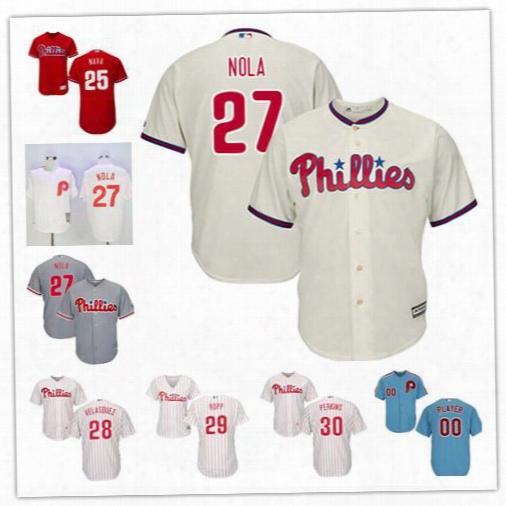 Philadelphia Phillies Jerseys Stitched Womens Youth White Gray #25 Daniel Nava 27 Aaron Nola 28 Velasquez 29 Cameron Rupp 30 Cameron Perkins