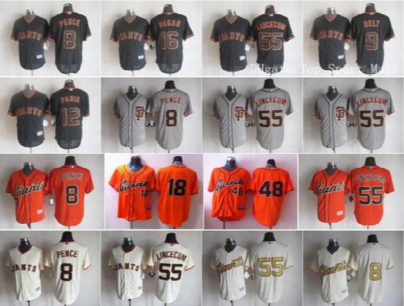 San Francisco Giants 12 Joe Panik 16 Angel Pagan Baseball Jerseys Game 8 Hunter Pence 9 Brandon Belt 55 Tim Lincecum 48 Pablo Sandoval