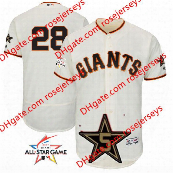 San Francisco Giants 2017 All-star Game Worn Jersey #28 Buster Posey Cream Gray Road Sf Orange Black Cool Flex Base Stitched Baseball Jereys