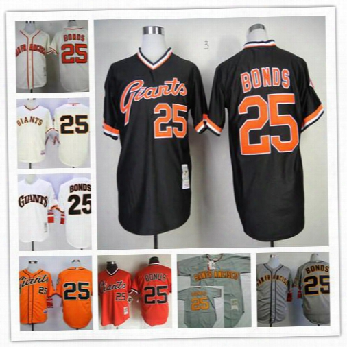 San Francisco Giants Barry Bonds Jersey 25 Home Cream Throwback Black Game Worn Orange Gray White Pullover Vintage Stitched Baseball Jerseys