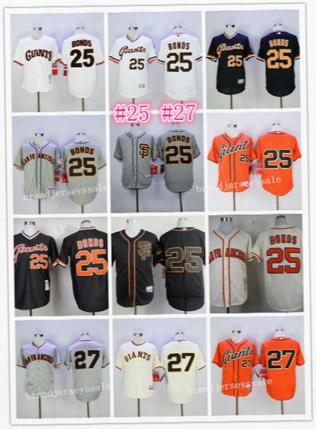 San Francisco Giants Jerseys 25 Barry Bonds 27 Juan Marichal Jersey Sf Black Orange Happy Throwback Baseball Jerseys Cool Base Mlb Jersey
