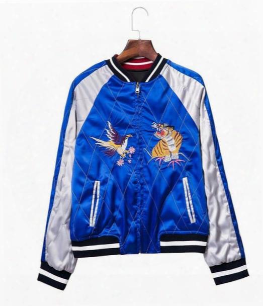 Satin Embroidery Bomber Jacket Women Black Blue Tiger Eagle Souvenir Jackket Coat Casaul Baseball Jacket Sukajan Riversible Outwear