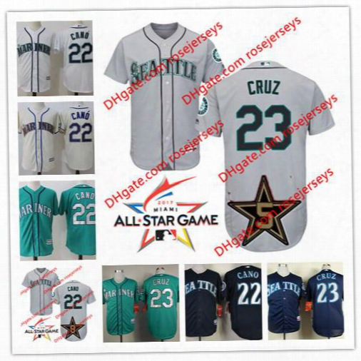 Seattle Mariners 2017 All-star Game Wore Jersey #22 Robinson Cano 23 Nelson Cruz Gray Road White Navy Blue Green Stitched Baseball Jerseys