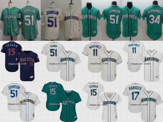 Seattle Mariners Felix Hernandez Randy Johnson Edgar Martinez Seager Mitch Haniger Cool Flex Male Female Kids Jerseys Navy White Cream Green