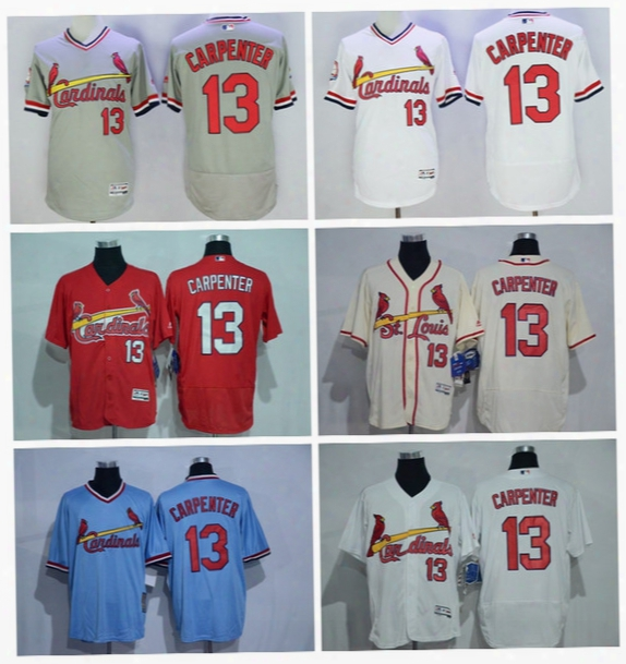 St. Louis Cardinals Baseball 13 Matt Carpenter Jersey Cooperstown Vintage Flexbase Cool Base Pullover White Grey Blue Red Cream Button