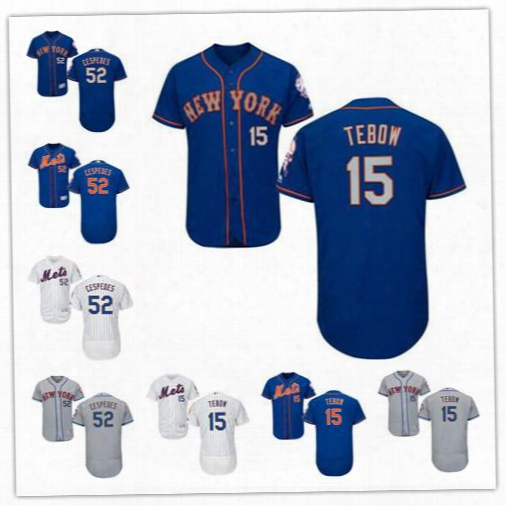 Stitched 15 Tim Tebow Baseball Jerseys Authentic 52 Yoenis Cespedes Mlb New York Mets Jersey Flexbase Collection White Gray Royal Blue Hot