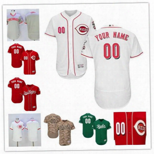 Stitched Mens Cincinnati Reds Custom White Home Pullover Camo Red White Gray Greencheap Any Name Any Number Flex Base Baseball Jersey S-4xl