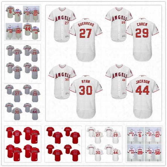 Stitched Mens Los Angeles Angels Retired Jersey #27 Vladimir Guerrero 29 Rod Carew 30 Nolan Ryan 44 Reggie Jackson Gray White Red Pullover