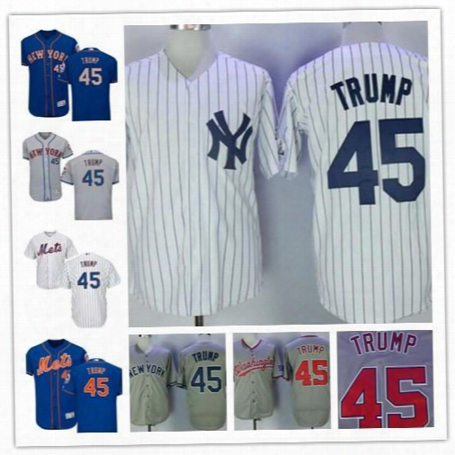 Stitched Mens,women,youth New York Yankees Usa 45th President Donald Trump #45 White Flag Patch Blue Gray New York Mets Baseball Jerseys