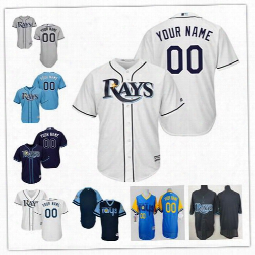Stitched Personalized Cool Base Tampa Bay Rays Custom Mens Womens Youth Kid Baseball Jerseys Home White Gray Road Light Navy Blue S,4xl