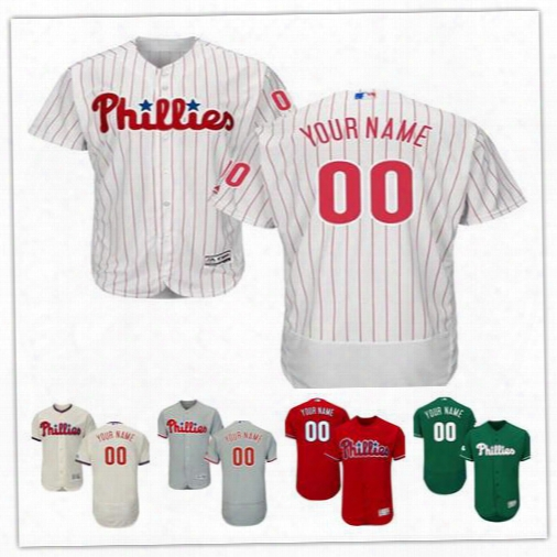 Stitched Personalized Philadelphia Phillies Mens Flex Base Custom Baseball Cheap Jerseys Home White Gray Road Green Red Cream Size S,4xl