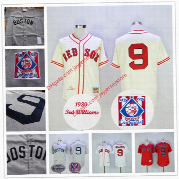 Ted Williams Jersey 1939 Cooperstown Grey Cream Red Sox Jerseys Flexbase Home Away Baseball 100th Patch