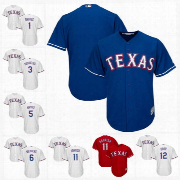 Texas Rangers Cool Base Jersey 1 Elvis Andrus 2 Hanser Alberto 3 Delino Deshields 5 Mike Napoli 6 Brett Nicholas Custom Baseball Jerseys