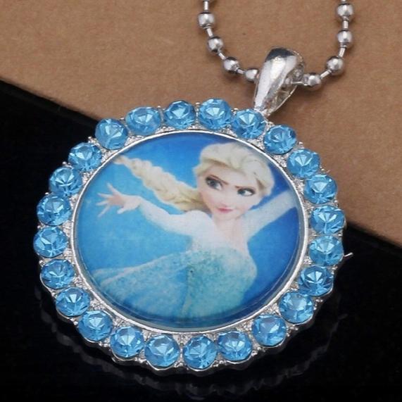 The Frozen Kid Children Elsa Princess Cartoon Crystal Pendant Necklace With Sparkling Cubic Zircon Paved Necklaces
