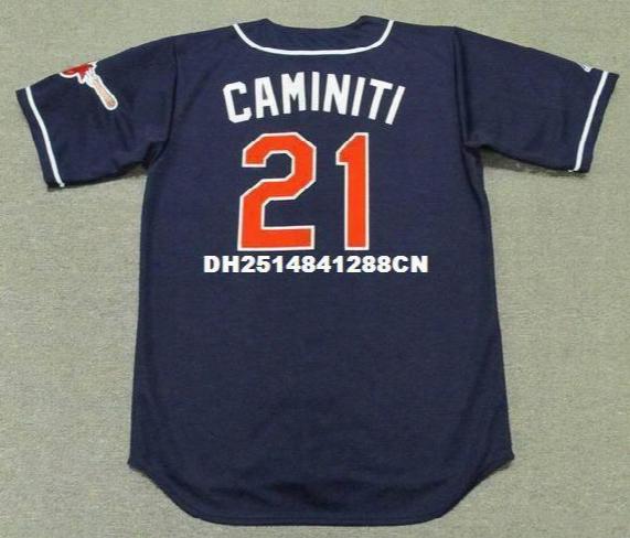 Throwback #21 Ken Caminiti San Diego Padres 1997 Retro Jerseys Throwback Alternate Embroidery Men's Baseball Jersey