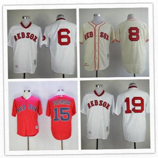Throwback Boston Red Sox Baseball Jerseys 8 Carl Yastrzemski 6 Johnny Pesky 19 Fred Lynn 15 Dustin Pedroia Cooperstown Vintage Cream Jerseys