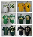 2016 New Oakland Athletics #4 Coco Crisp #15 Ryan Sweeney #34 Rollie Fingers #20 Josh Donaldson #55 Hideki Matsui Baseball Jersey Shirt