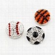3 Style 18mm Rhinestone Baseball Soccer Basketball Button Snap Charms Fit For DIY Snap Button Bracelet Necklace Jewelry