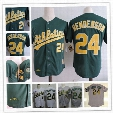 Mens Oakland Athletics RICKEY HENDERSON throwback Cooperstown Jersey #24 RICKEY HENDERSON Athletics 1989 World Series baseball Jersey S-3XL