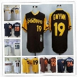 Mens San Diego Padres #19 Tony Gwynn Vintage Jersey Brown Gold 1978 1982 Throwback white Rickey Henderson Navy Blue Mesh BP stitched Jerseys