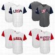 USA Baseball Majestic 2017 World Baseball Classic Team Jersey Men Baseball Jersey Puerto Rico Mexico Italy All Teams Wholesale