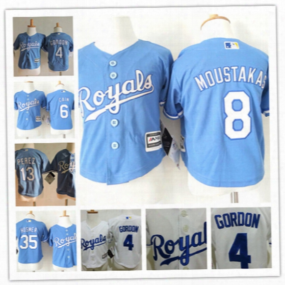 Toddler Kansas City Royals Salvador Perez Cool Base Jersey 4 Alex Gordon 6 Lorenzo Cain 8 Mike Moustakas 35 Eric Hosmer Royals Baby Jerseys