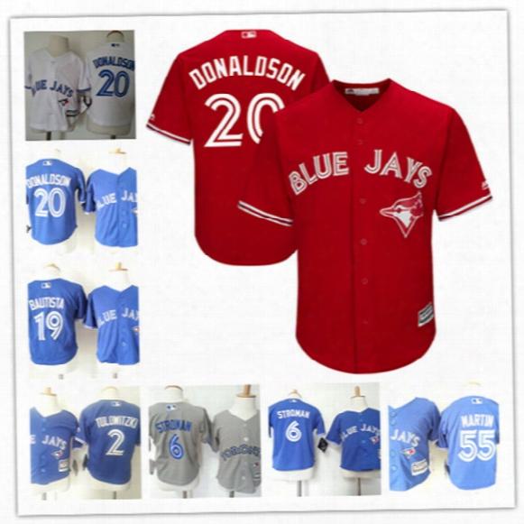 Toddler Toronto Blue Jays Marcus Stroman Cool Base Jersey Preschool Troy Tulowitzki Jose Bautista Josh Donaldson Russell Martin Baby Jerseys