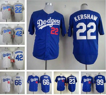 Top Men Los Angeles Dodgers Cheap Baseball Jerseys 66 Yasiel Puig Jerseys Baseball 42 Jackie Robinson 22 Clayton Kershaw Blue Gray White