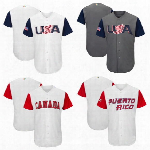 Usa Baseball Majestic 2017 World Baseball Classic Team Jersey Men Baseball Jersey Puerto Rico Mexico Italy All Teams Wholesale