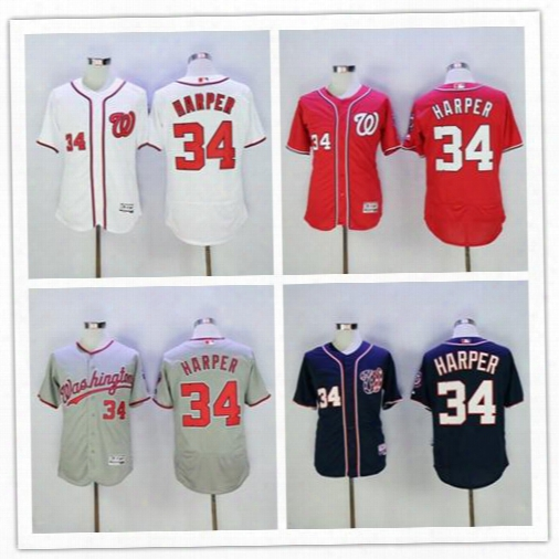 Washington Nationals #34 Bryce Harper 2017 Baseball Jersey Cheap Rugby Jerseys Authentic Stitched Free Shipping Size S-4xl