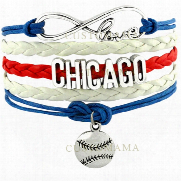 Wholesale-(10 Pcs/lot) Infinity Love Chicago Baseball Charm Multilayer Bracelet Gift For Baseball Fans Red Blue White Leather Custom