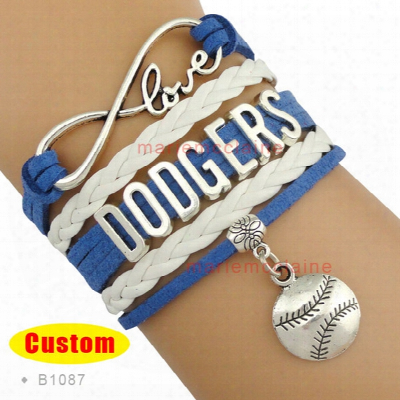 Wholesale-(10 Pieces/lot) Infinity Love Mlb Los Angeles Dodgers Baseball Bracelet Dodger Blue White Custom Any Styles - Drop Shipping