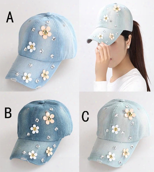 Wholesale-2015 Newest  Korean Retail Diamond Point Flower Denim Caps Women Baseball Cap Lady Hat Rhinestone Print