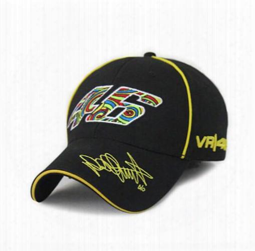 Wholesale- 2016 New Cotton Embroidery Vr46 Rossi 46 Baseball Cap Men Women F1 Sport Racing Hat Moto Gp Motorcycle Trucker Snapback Cap