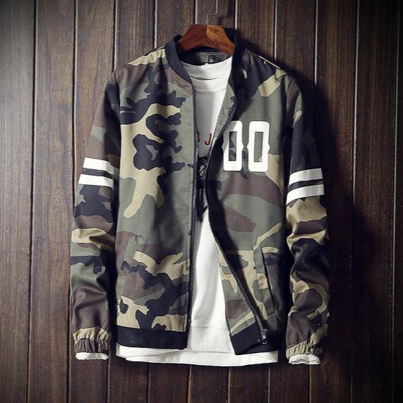 Wholesale- 2017 Fashion Camouflage Jacket Men Striped Bomber Jacket Male Casual Baseball Collar Mens Jackets And Coats 5xl Windbreaker Male