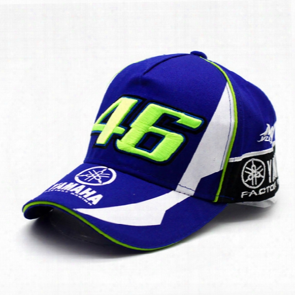 Wholesale- 2017 New Design F1 Racing Yamaha Car Motocycle Racing Moto Gp Vr 46 Rossi Embroidery Sport 100% Cotton Trucker Baseball Cap Hat