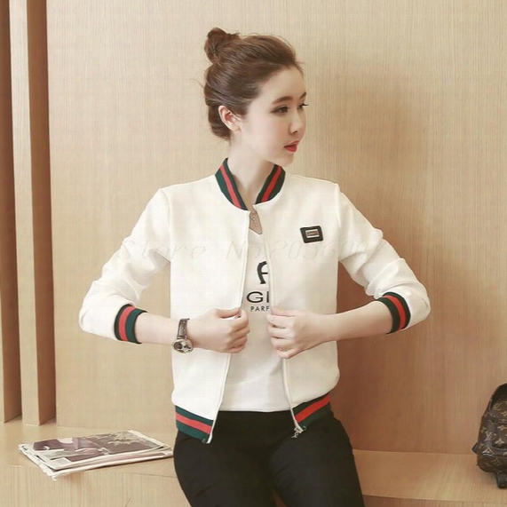Wholesale- 3 Color Stripe Splice Casual Bbomber Jacket Women 2017 Spring Autumn Harajuku Long Sleeve Baseball Jacket Woman Bolero Tops