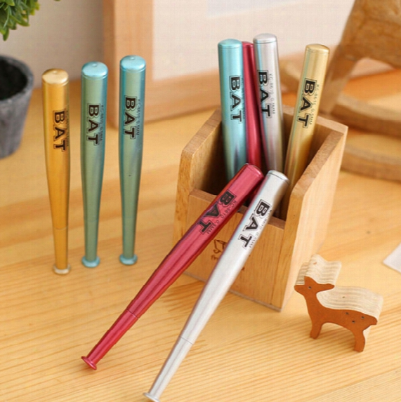 Wholesale-4pcs/set Creative Novelty Baseball Bat Gel Pen Kids Writing As Gift For School Students School Supplies 0.5mm