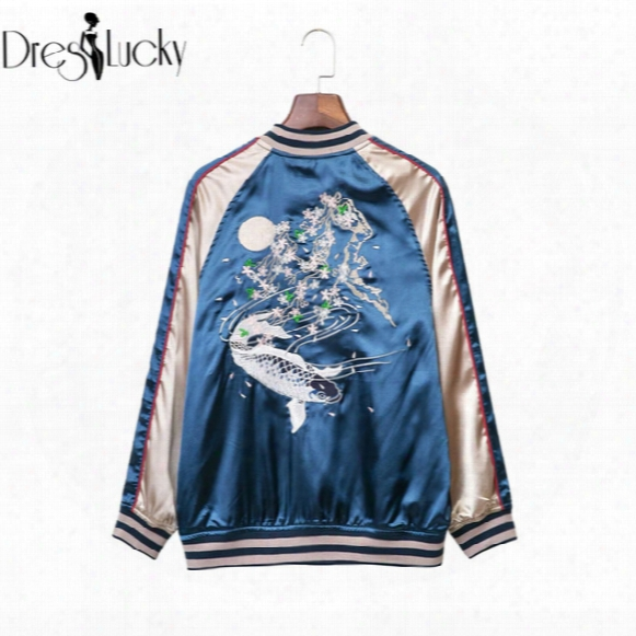 Wholesale- Fashion Satin Sukajan Carp Embroidered Bomber Jacket 2016 Autumn Casual Cool Souvenir Jacket Spliced Women Basic Coats Baseball
