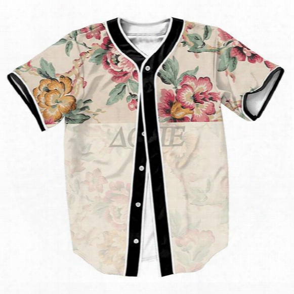 Wholesale- Flower Jersey Overshirt Baseball Shirts Tops Sweat Shirt Men's Clothing Summer Style 3d Print With Single Breasted