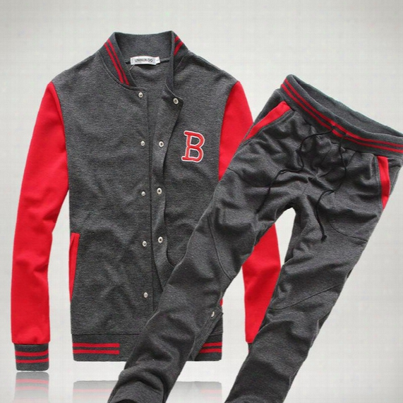 Wholesale-free Shipping! New Fashion Mens Sport Sets Sweat Suits Korean Style Tracksuits Baseball Jacket Hoodies/sweatshirts And Pants