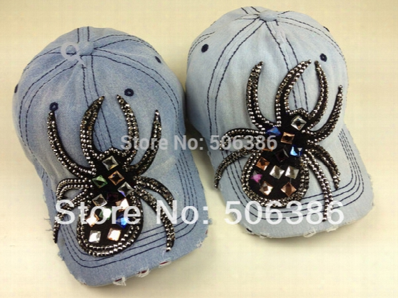 Wholesale- Freeshipping Fashion Denim Baseball Cap,colorful Glass Drill Women Jean Baseball Cap,lady Summer Sports Hat Sunshine Hat