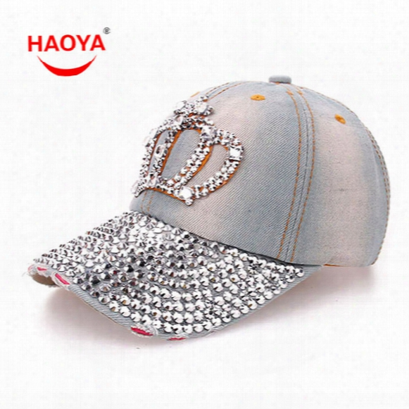 Wholesale- Haoya 1pcs Fashion Diamond Point Imperial Crown Denim Caps Women Baseball Cap Girls Hat Rhinestone Print Free Shipping 2 Colors