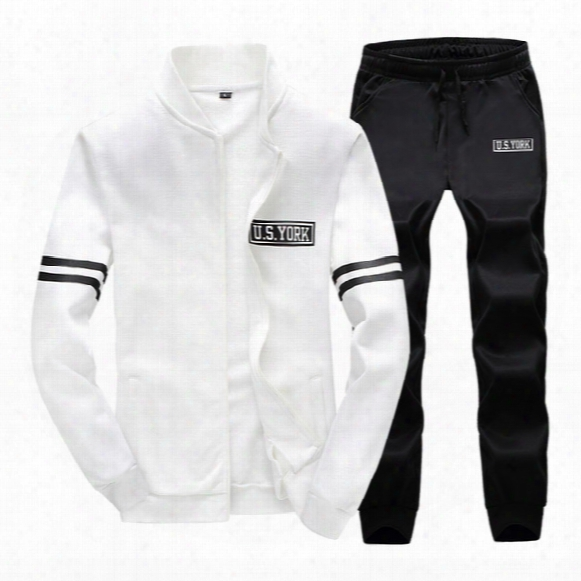 Wholesale-high Quality Men's Sports Suit Pattern Printed Coat + Pants 2 Pieces 4 Colors Baseball Jackets Sport Tracksuit Running Set Homme