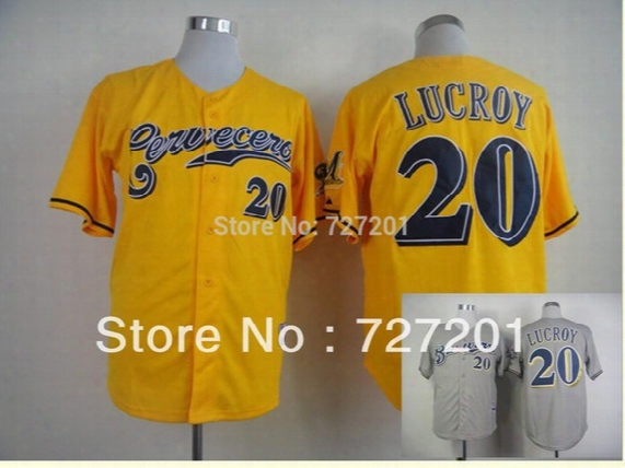 Wholesale Men's Baseball Jerseys Milwaukee Brewers Authentic #20 Jonathan Lucroy Cerveceros Cool Base Jersey,mix Order
