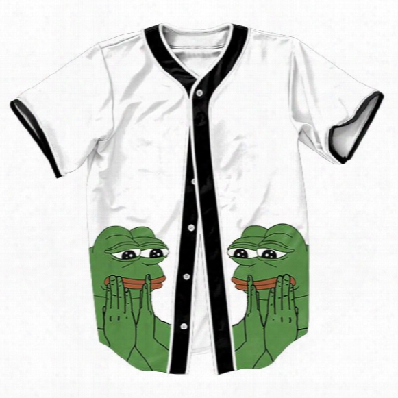 Wholesale-pepe The Frog Jersey Summer Style With Buttons 3d Print Hip Hop Streetwear Men's Shirts Sport Tops Baseball Shirt Outwear Tees